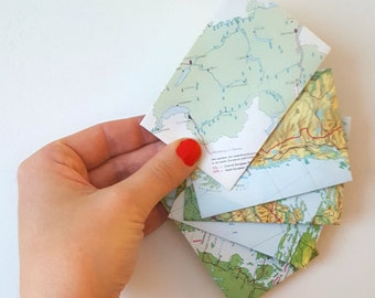 Set of gift card world map envelopes, small envelopes, mini atlas envelopes, tiny envelopes. SIZE 2,5 x 3,9 inch.