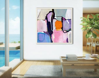 Large abstract print, pink abstract painting print large, abstract canvas art print, pink, purple, gray, large Giclee print pink, Eleuna #2