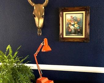 Mid Century. Modern. Vintage. Desk Lamp. Made In Sweden. Ledu. Orange. Articulating.