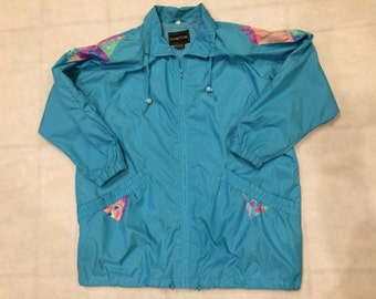 Vintage 90s print zip up jacket windbreaker womens 2xl mens xl