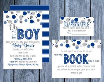 Confetti Baby Shower Invite, Sprinkle Baby Boy, Boy Baby Shower Invite, Diaper Raffle Card, Book Card Insert, Baby Shower Invite Package