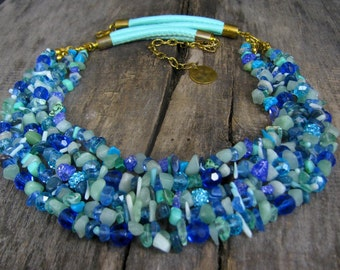 Gemstone  Necklace, Gift for Mom , Statement Mint Necklace , Multistrand Blue Necklace , Gift for Her , Mothers Day Gift