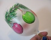 Set of Three Multi-Colored Frosted Christmas Ornaments Wine Glasses