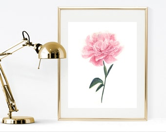 Printable watercolor flower, pink peony instant download, peony art print, floral home decor, shabby chic decor, peony watercolor painting