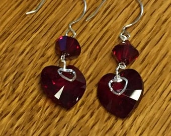 Swarovski Crystal Heart Earrings and Sterling Silver. Handcrafted, great gift!
