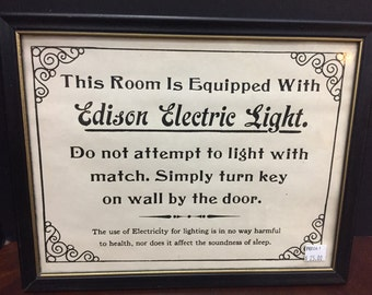 Vintage Framed Edison Light Sign