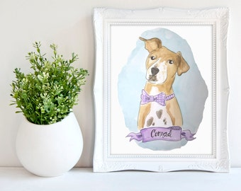 Custom Pet Portrait, Custom Pet Painting, Custom Handmade Watercolor Dog Painting,  Cat Painting, Father's Day Pet Illustration Gift (1 Pet)