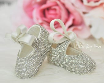 First baby shoes, baptism shoes, crib shoes, birthday shoes, special occasion shoes for baby bling christening baby shoes
