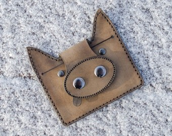 Small genuine leather muddy pig wallet