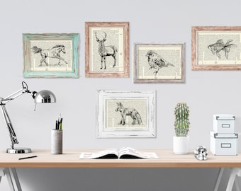 Woodland animals, Dictionary art, Animals poster set, Set of 5, Housewarming gift, Hipster room decor, Hostess gift