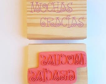 Thank You Stamp, Thank You Tags, Italian Tags, Muchas Gracias stamp, Etsy Seller Stamp, Wooden Mounted Stamp, Handmade Stamp, Destash Stamps