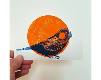 Map postcard Bluebird linogravee Sunrise orange
