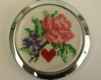 Bag or Pocket mirror pink and purple hand embroidered