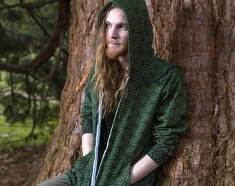 Green Flower of Life Hoodie - Organic Cotton Sacred Geometry Clothing. Tattoo and Festival inspired.