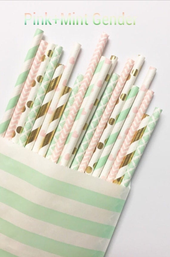 Pink+Mint Gender Straw Mix//paper straws, straws, party decorations, bachelorette party, baby shower, birthday party, bridal shower,
