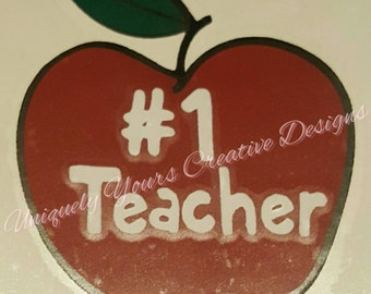 Teacher Apple Decal, Number 1 Teacher Decal, Teacher Decal, Apple Decal, Teacher Vinyl Decal, Teacher Gift, Decal Sticker, Vinyl Decal