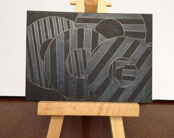 Pencil on matte black - Geometric ACEO Original Art collectible artist trading cards