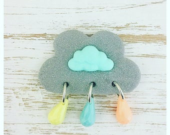 Cloud brooch. Spring showers pin. Raindrop brooch. Cloud jewellery.