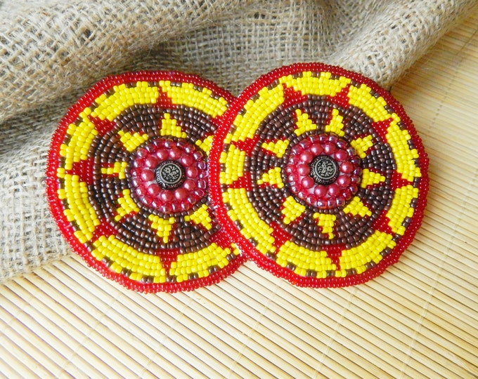 Tribal talisman , embroidered tribal patch , handmade beaded circles , boho decor , belt accessories , red vine tribal nomad accessories