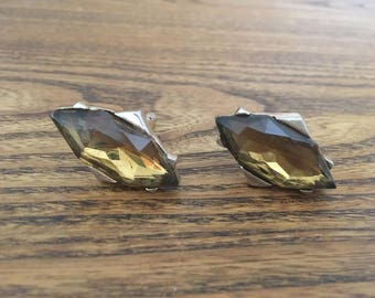 SWANK Diamond Shaped Cognac Topaz Crystal and Gold Cuff Links 1205