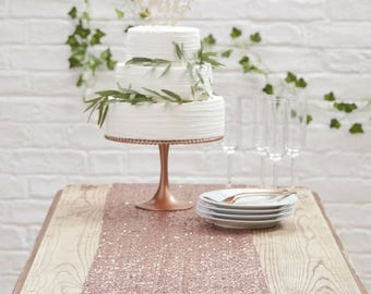 Rose Gold Sequin Table Runner - Perfect for Wedding Tables!