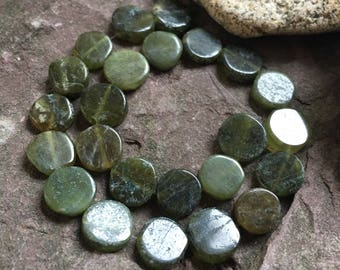 Idocrase beads, center drilled, sap green stones, Vesuvianite, beading supplies, gemstones, rustic beads