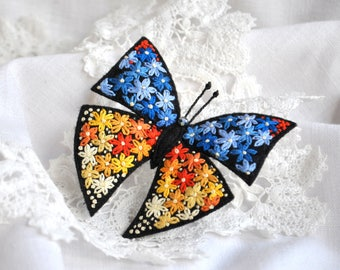 Hand Embroidery colorful butterfly felt brooch Orange yellow blue flowers Embroidery insect brooch Textile butterfly pin Felt Butterfly.