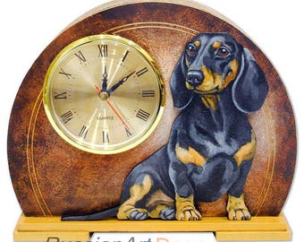 "Table clock ""Dachshund"",  made of wood, hand-painted with acrylic  paint"