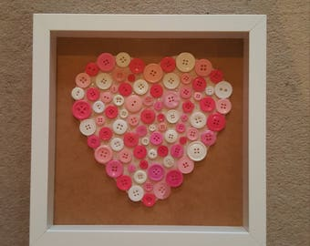 Beautiful hand made button heart picture