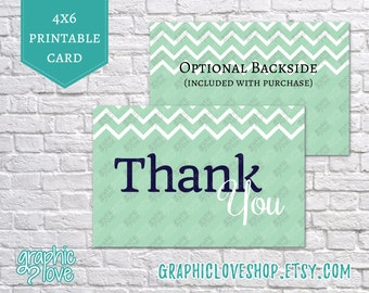 Printable 4x6 Navy and Mint Chevron Thank You Cards | Digital High Resolution JPG File, Instant Download