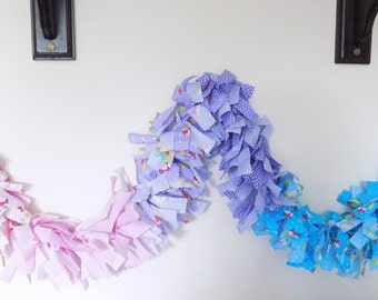 Rag garland in rainbow fox fabric, fox fabric garland, fabric garland, rag garland