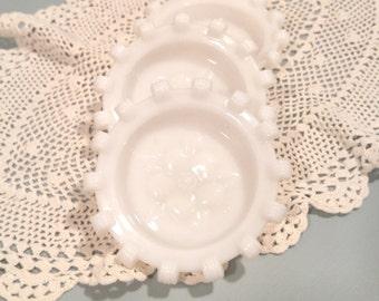 Milk Glass Hazel Atlas Apple Blossom Coasters