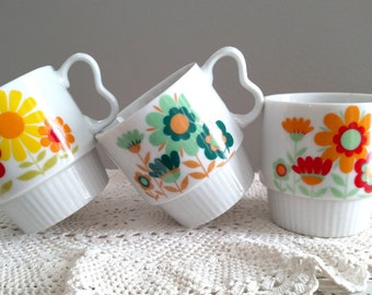 Qty. 3 Vintage Coffee Mugs, Tea Cups, Made In Japan, Ceramic
