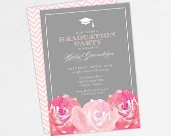 Graduation Invitation, Graduation Announcement, Printable Invitation, Invitation PDF, DIY, Printed, Watercolor Flowers, Gray, Pink, Hailey