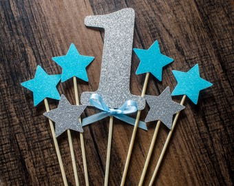 1st birthday, 1birthday cake topper, 1 and stars cake topper, birthday cake topper decorations, blue and gold stars cake topper