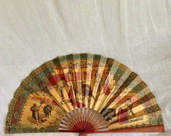 Vintage Large Folding Fan / Spanish Matador Souvenir Fan.