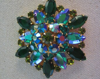 Vintage Brooch Pin Blue Green Gold Tone Rhinestones Iridescent AB Aurora Borealis Statement Pin Brooch Vintage Jewelry Pristine Condition