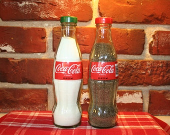 COCA-COLA 8oz Salt and Pepper Shakers (Glass Bottles)