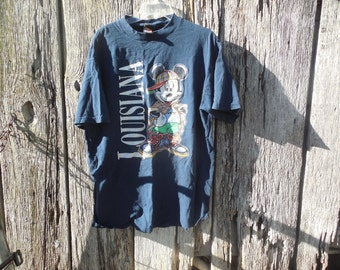 Vintage 90s hip hop Mickey Mouse Louisiana navy blue faded t shirt Mens XL torn holes distressed destroyed ripped Dinsey Post Apocalyptic