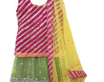 Kids Lehenga Choli, Girls Lehenga Choli, Toddler Lehenga Choli, Pink Gotta Choli with Green Mirror Work Lehenga and Yellow Dupatta
