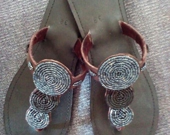 Gaia - Handmade, Real Leather Kenyan Beaded Sandals, Thongs, Flip flops, Slides