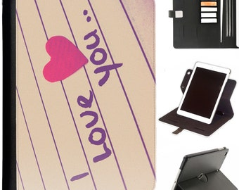Hand written i love you Luxury Apple ipad 360 swivel i pad leather case cover with card slots