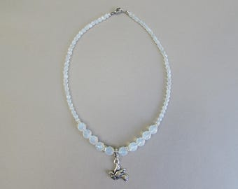 Dove necklace with white opal glass beads and dove charm, 14 inch choker necklace, Peace dove charm necklace, Handmade gift