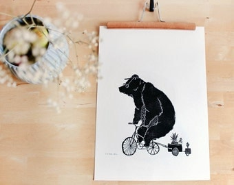 Linocut bear | Poster | Bear on bike | A3 print | Poster black white