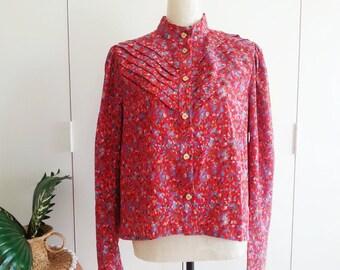 Vintage Blouse, 80s Red Retro Blouse, Floral Pleated Shirt - Medium