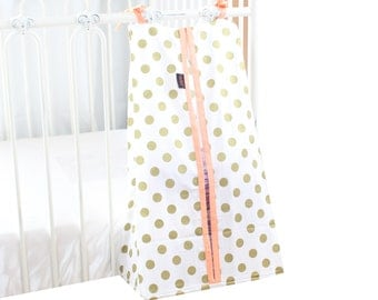 Diaper Stacker - Medium Gold Dots with Coral, White or Mint Edging and Ties