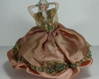 Porcelain Victorian  Doll Pin Cushion
