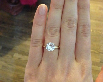 White Sapphire Solitaire Engagement Ring