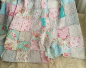 Shabby Inspired Rag Quilt Pink Aqua Roses Damask   Tonals  Toiles Floral Printa All Cotton Custom Size