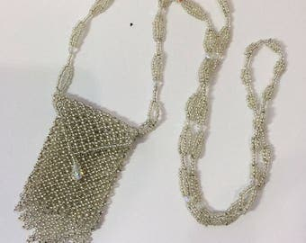 Netting Amulet Bag - Beaded Necklace  - Amulet Bag